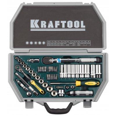 """Набор торцовых головок KRAFTOOL """"INDUSTRIE QUALITAT"""" (3/8"""") универсальный, Cr-V, пластиковый кейс, 49 предметов"""