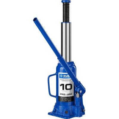 ЗУБР 10т, 228-462мм домкрат бутылочный гидравлический, Профессионал