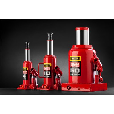 STAYER RED FORCE 4т 194-372мм домкрат бутылочный гидравлический в кейсе