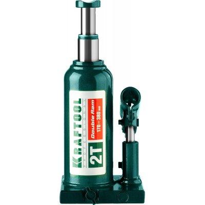 KRAFTOOL DOUBLE RAM 2т 170-380мм домкрат двухштоковый бутылочный с увеличенным подъемом, KRAFT BODY